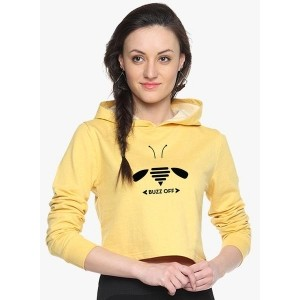 Campus Sutra Yellow Graphic Sweatshirts for Women