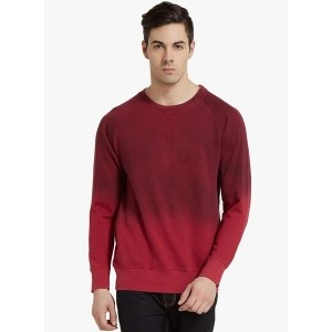 Elaborado Red & Maroon Cotton Fleece Solid Sweatshirt