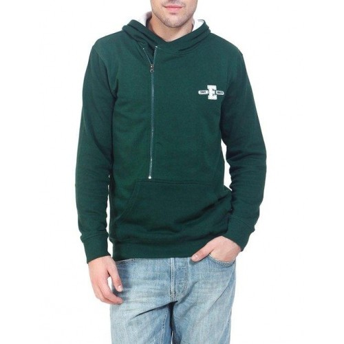 Elaborado Mens Forest Green Zipper Sweatshirt with Hood