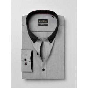 INVICTUS Grey Cotton Solid Slim Semiformal Shirt