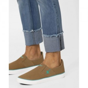 Sparx Khaki Canvas Slip On Casual Shoes