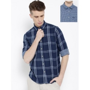 Pepe Jeans Men Blue Checked Semi Fit Reversible Casual Shirt