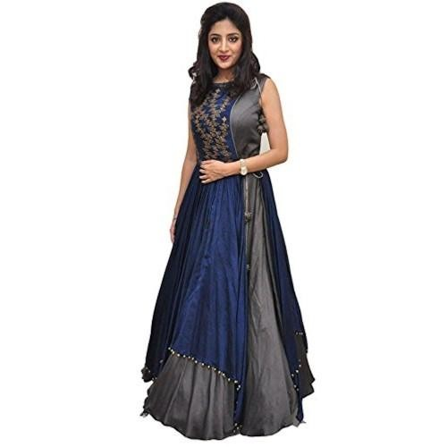 Blue & Gray Taffeta Silk Embroidered Indo Western Gown