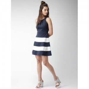 Mast & Harbour Navy & White Polyester Striped A-Line Dress