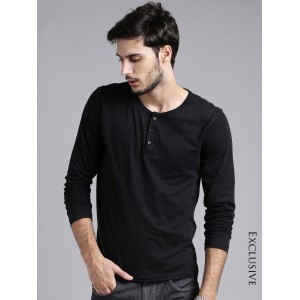 ETHER Black Henley T-shirt