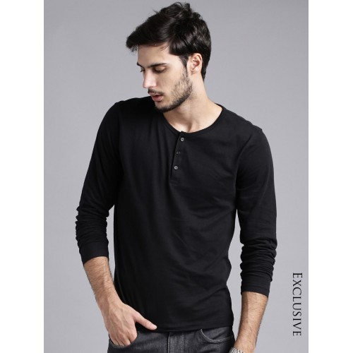 ETHER Black Henley T-shirt
