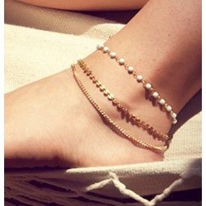 Leiothrix Vogue Bohemian Multilayer White Beads & Paillette Anklet