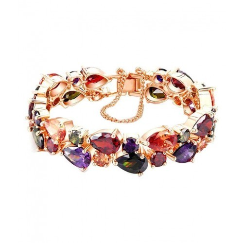 Jewels Galaxy Splendid Sparkling Multicolour Vine 24K Rose Gold Plated Bracelet For Women
