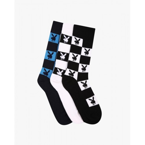 953e8c811a3 Buy Playboy Black Pack of 3 Checked Socks online