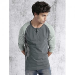 Roadster Grey Cotton Printed Henley T-shirt