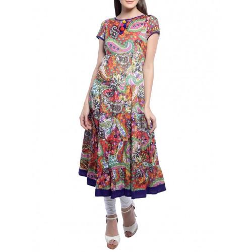 Aairah Multi Colour Printed Cotton Flared Kurta