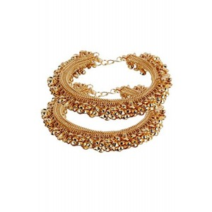 Shining Diva Gold Plated Gunghroo Payal Anklets For Girls and Women