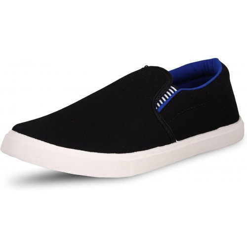 Ethics Black Canvas Solid Low Ankle Loafers