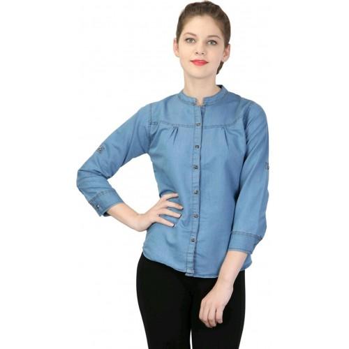 97d97925e26 Buy YASMIN CREATIONS Light Blue Solid Casual Denim Shirt online ...