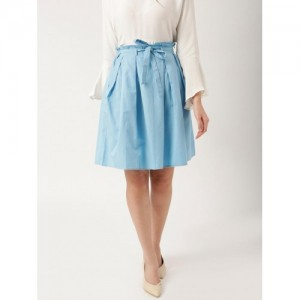 all about you Sky Blue Cotton Solid A-Line Pleated Skirt