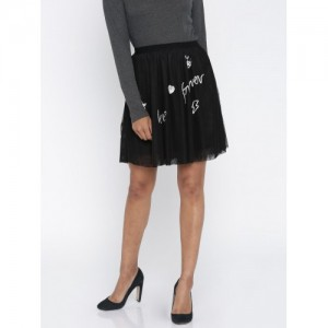 Only Black Polyester Tulle Sequinned Skirt