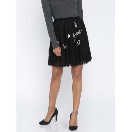 Only Black Polyester Tulle Sequinned Skirt