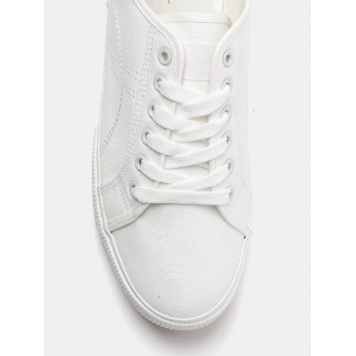 White Solid Regular Sneakers