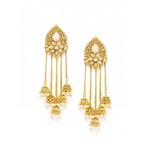 Sukkhi Red Gold-Plated Beaded Drop Earrings