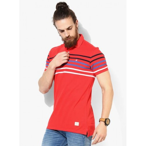 United Colors of Benetton Red Striped Polo T-Shirt