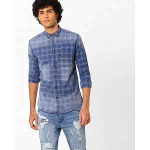 Nature Casuals Lightly Washed Checkered Denim Shirt