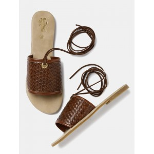 Roadster Brown Leather Solid Woven Flats