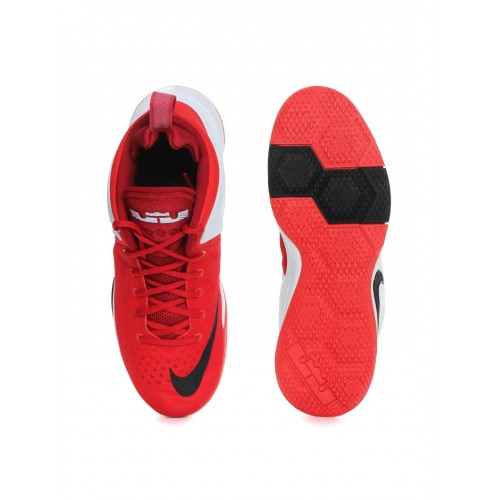 62a265de7243 ... Nike Men Red   White ZOOM Witness LeBron James Mid-Top Basketball Shoes  ...