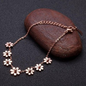 Yellow Chimes Flower Rose Gold Plated Stainless Steel Anklet