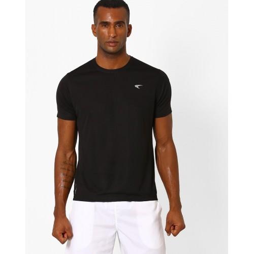 PERFORMAX Black Cotton Panelled Crew-Neck T-shirt
