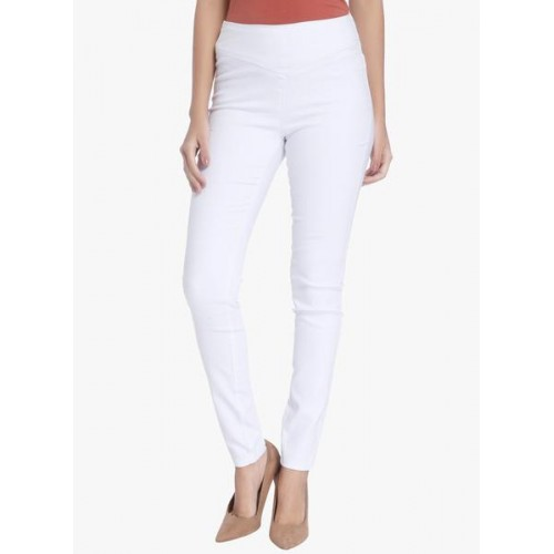 72b56f32d56b90 Buy Vero Moda White Solid Poly Cotton Jeggings online | Looksgud.in