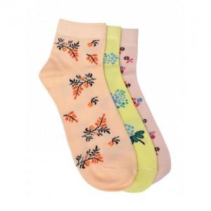 MARC Multicolor Cotton Set of 3 Patterned Ankle-Length Socks