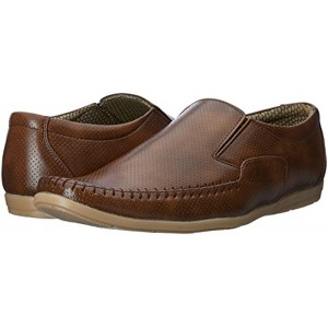 Auserio Brown Synthetic Slip-On Party Shoes