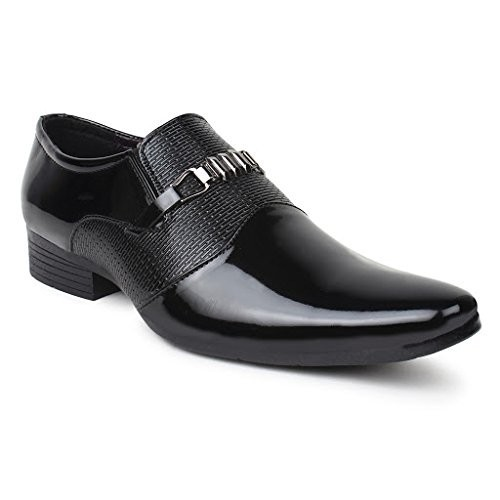 Buwch Black Patent Leather Slip On Formal Shoes