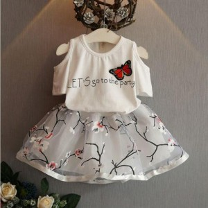 White Printed Cotton Cold Shoulder Top With Flared Skirt