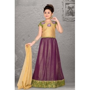 Girls Beige Art Silk  Lehenga Choli