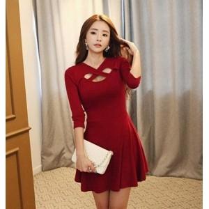 Sweet Red Keyhole Neck Women's Dress