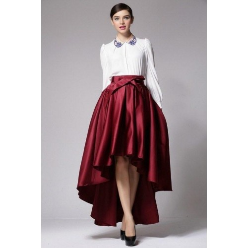 buy s trendy solid chiffon high low skirt