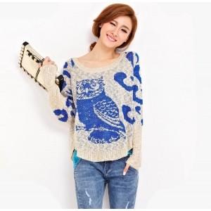 Women's Trendy Gray O-Neck Print Woolen Sweater