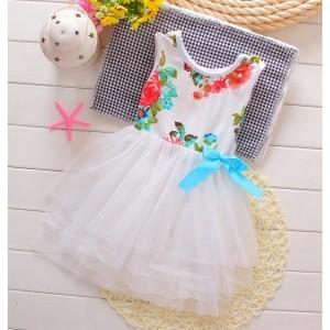 Little Princess's White Floral Tutu Dress