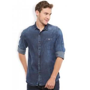 LOCOMOTIVE Blue Slim Fit Denim Casual Shirt