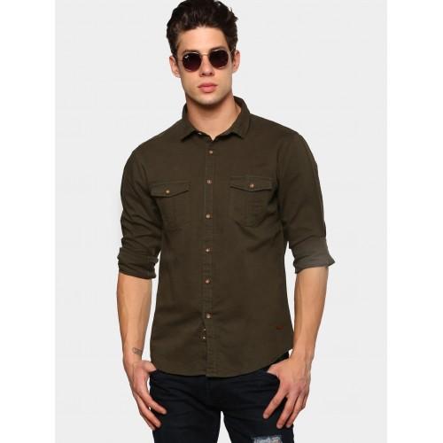 0004753f0287 Buy abof Dark Olive Green Linen Blend Slim Fit Casual Shirt online ...