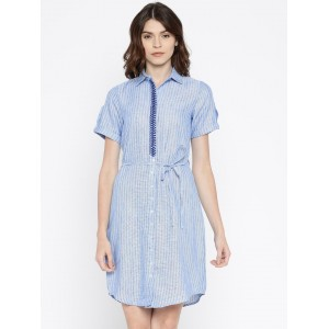 109F Blue Striped Shirt Dress