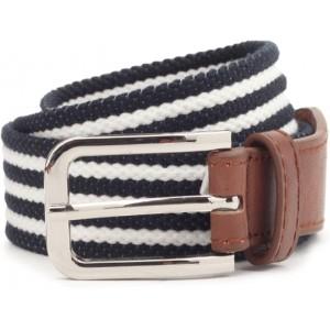 United Colors of Benetton Women's White & Black Striped Belt