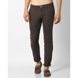 Netplay Coffee Cotton Lycra Mid-Rise Tapered Chinos