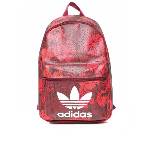 71e2bc0c6305 ... Adidas Originals Maroon   Red Floral Print Snakeskin Textured Backpack  ...