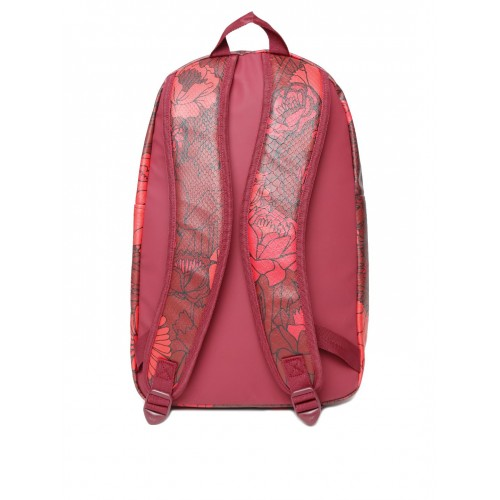 Adidas Originals Maroon   Red Floral Print Snakeskin Textured Backpack ... bd8648d9aff4b