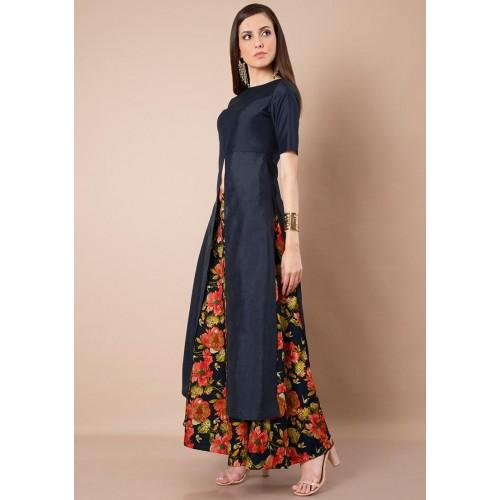 0ce6e2085d0 Buy Faballey Navy Blue Silk Lush Maxi Tunic online