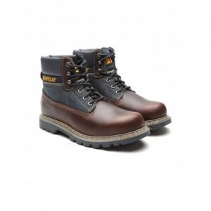 CAT Men Coffee Brown & Navy Solid High-Top Flat Boots