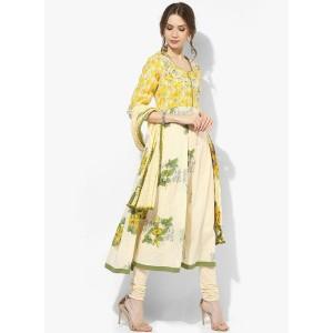 Biba Yellow Printed Cotton Salwar Kameez Dupatta