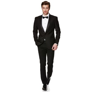 Menjestic Black Raymond Shiny Slim Fit Tuxedo With Satin Shawl Lapel